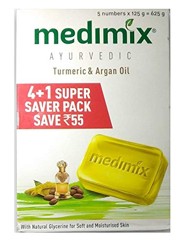 Medimix Ayurvedic Turmeric and Argan Oil Bathing Soap, 125g (Buy 4 Get 1 Free) with Face Wash, 50ml