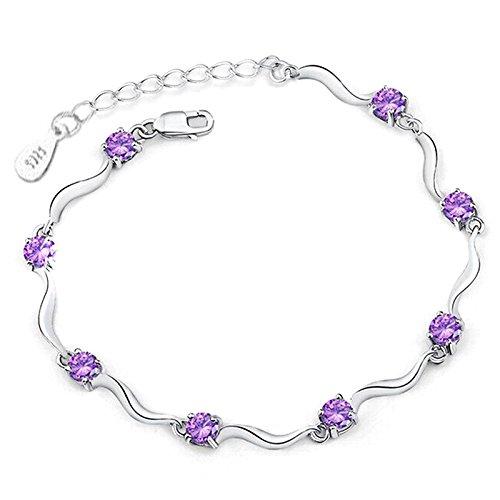 LALANG Women Silver Crystal Bracelet Adjustable Wave Chain Bangle (purple)