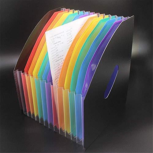 Nfudishpu File Display Rack A4 Papierordner 13 Ebenen Datenverwaltung Dokumentordner Rainbow Mini Organ Clip File Magazinhalter (Farbe: Schwarz, Größe: Einheitsgröße)