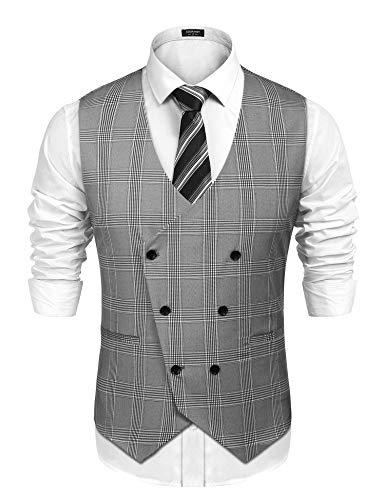 Men's Button Down Vests Premium Business Suit Vest for Groomsmen Grey, Small