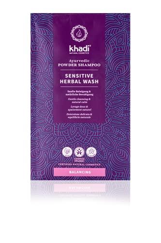 khadi Ayurvedische Haarmaske I SENSITIVE HERBAL WASH I Mild reinigendes, beruhigendes und intensiv pflegendes Pulver-Shampoo I 100% natürlich, vegan, frei von Silikonen & Sulfaten I...