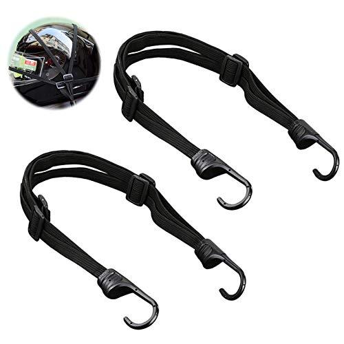 Cuerda tensora con ganchos, 2 unidades, correa tensora de goma con ganchos, goma tensora elástica, portaequipajes ajustable, tensor de bicicleta, correa tensora para casco de moto, color negro