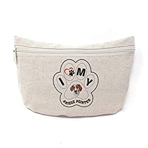 Custom Canvas Makeup Bag I Paw My Ariege Pointer Dog School Supplies Pencil Tote Pouch 9x6 Inches Natural Design Only 17