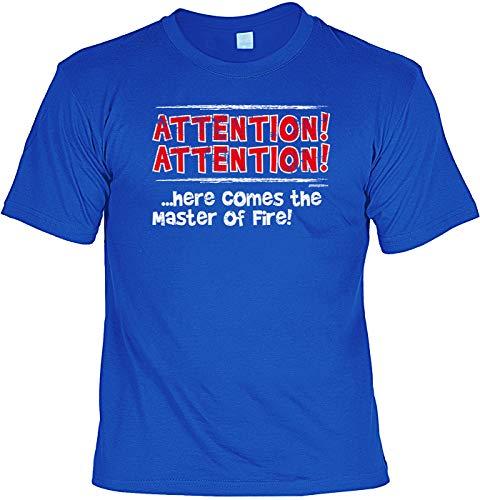 Brandweer-T-shirt met metalen bord set Attention Attention. Here Comes The Master of Fire & brandweer te heet te zwakke brandweermannen Firefighter Vrijwillige brandweer brandweermotief