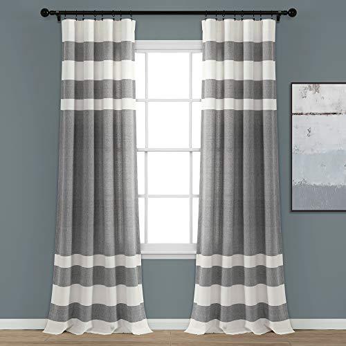 "Lush Decor Gray Stripe Yarn-Dyed Cotton Window Curtain Set (84"" x 40"")"