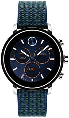 Movado Connect 2 0 Unisex Powered with Wear OS by Google Stainless Steel and Navy Velcro Fabric product image