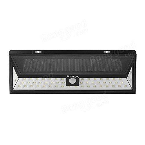 Bazaar arilux® AL-SL10 énergie solaire 6 W 54 LED PIR Capteur de lumière de plein air Imperméable Grand angle de lampe murale