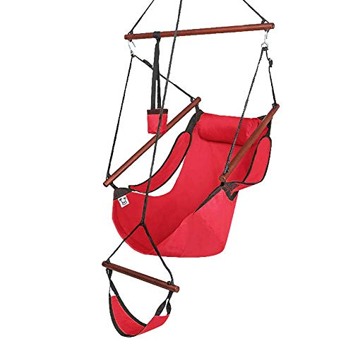 Z ZTDM Hammock Hanging Chair, Air Deluxe Sky Swing Seat with Pillow and Drink Holder Solid Wood Indoor/Outdoor Garden Patio Yard 250lbs (Red)