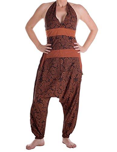 Vishes - Alternative Bekleidung - Damen Hippie Latzhose Overall Haremshose Neckholder aus Baumwolle mit Blümchen Braun 40