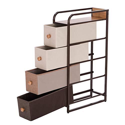 PROMECITY Kommode aus Stoff, Schubladen Kommode, Einheit für Schlafzimmer, Schrank Organizer Schmales Aufbewahrungssystem für Schlafzimmer oder Flur