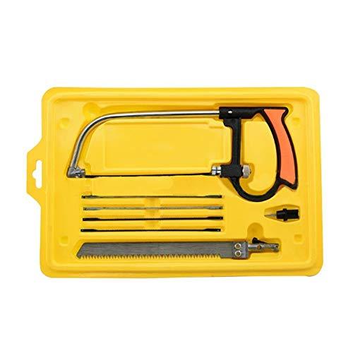 Hemore 8-teiliges Set tragbare Handsäge mit Handsäge, multifunktional, Mini-Magie, Universal-Sägen-Set, Mehrzweck-Bügelsäge, Werkzeugkoffer, Holzbearbeitung, Gelb