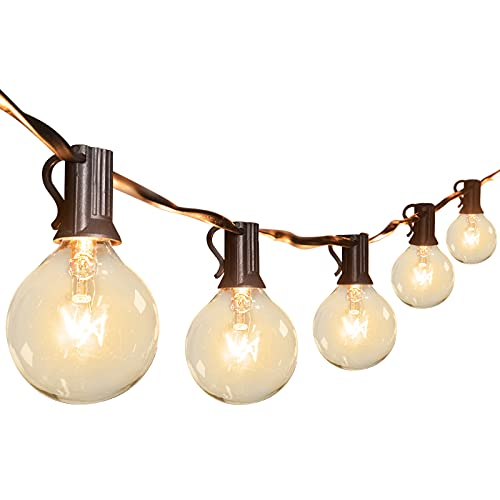 Outdoor String Light 16.2 M / 53 Feet G40 Globe Patio Lights with 52 Edison Glass Bulbs (2 Spare), CE Listed Waterproof Hanging Lights for Backyard Balcony Deck Party Decor, E12 Socket Base, Black
