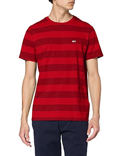 Tommy Hilfiger TJM Bold tee Camiseta, Rojo (Deep Crimson Stripe 0e8), Medium para Hombre