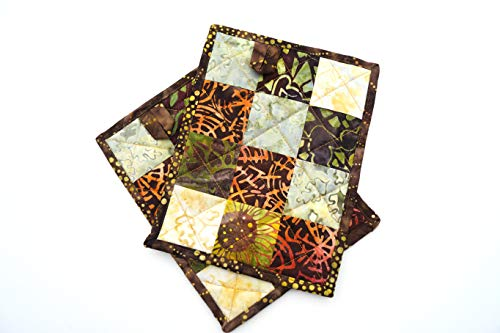 Batik Patchwork Quilted Pot Holder in Rich Earth Tones