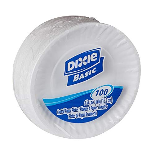 Dixie Basic 6' Light-Weight Paper Plates by GP PRO (Georgia-Pacific), White, DBP06W, 1,200Count (100 Plates Per Pack, 12 Packs Per Case)