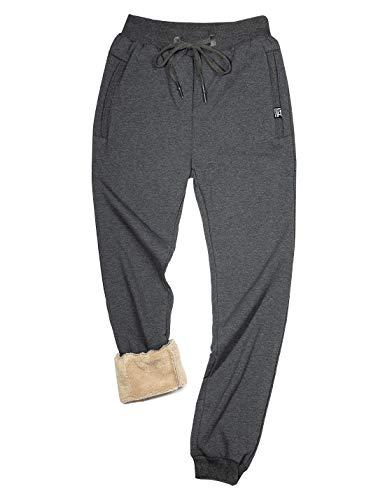 Gihuo Men's Sherpa Lined Active Sweatpants Warm Jogger Pants (Dark Grey, Medium)