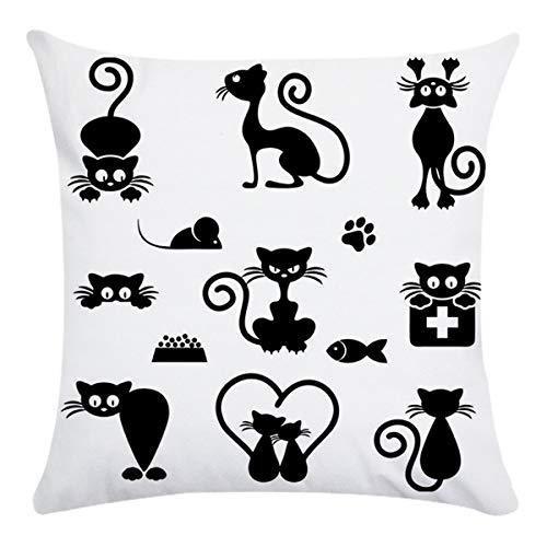 Greatangle-UK Animal de Dibujos Animados Gato diseño Impreso cojín Trasero Funda de Almohada de algodón Oficina en casa Coche Funda de Almohada Fiesta Festival decoración del hogar