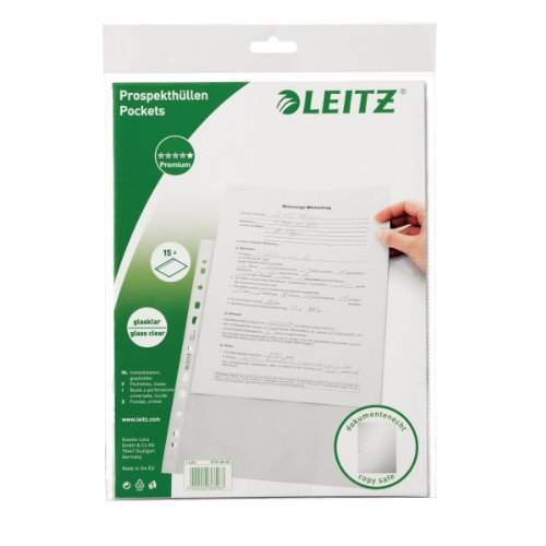 Leitz Standard Prospekthüllen-Set, 15 Stück, A4 Format, Glasklar mit glänzender Oberfläche, 0,075 mm PP-Folie, 47706002