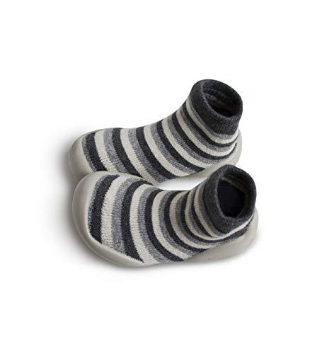 Collegien Nuit d'hiver Hausschuhe Socken grau mit Streifen Gr. 28/29