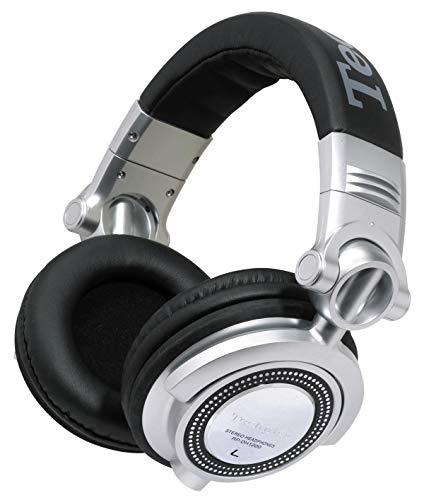 Panasonic RP-DH1200 DJ Kopfhörer (50 mm Wandler, 50 Ohm/ 1 kHz Impedanz, 107 db/mw, abnehmbares Spiralkabel, 6,3 mm Adapter) silber