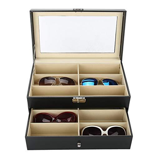 Cocoarm Organizador para gafas de sol de doble capa con 12 ranuras de vista con caja de almacenamiento portátil para guardar 12 vasos de presentación