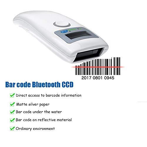 ZUKN Mini Wireless Barcode Scanner Compatible Bluetooth 4.0 CCD 1D Auto-détection Lecteur de Codes Barre pour Scanner à l'écran de l'ordinateur de paiement Mobile