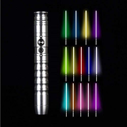 Y&Z Star Wars Lightsaber 11 Colores con 2 Sonidos Fuertes Luke Light Saber Jedi Sith Force Fx Heavy Dueling, para niños Adultos Navidad Fiesta Cosplay, 85 cm, Silver
