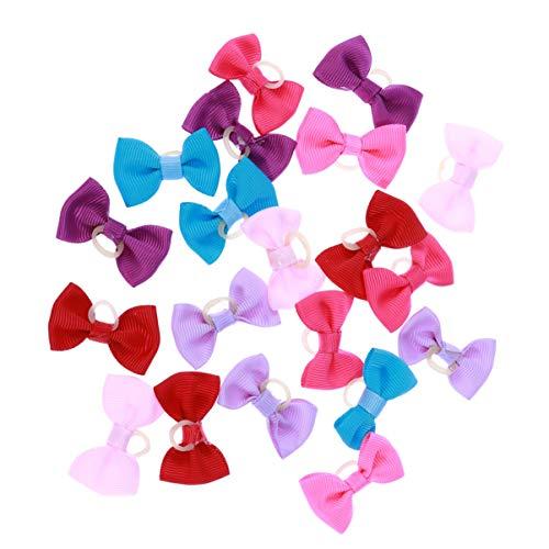 POPETPOP 20 UNIDS Multicolor Bandas de Goma Elásticas Bandas de Pelo Bowknot Headwear Tocado para Mascotas Perro Gato (Color Al Azar)