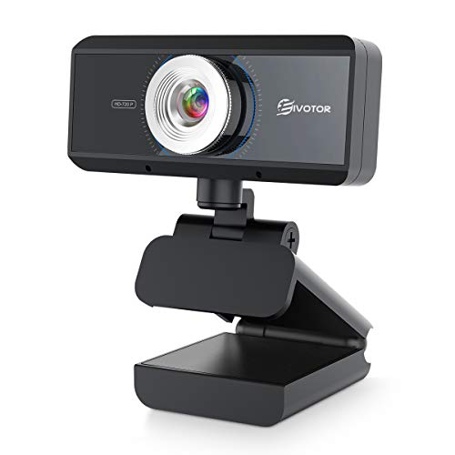 HD Webcam with Microphone EIVOTOR 720P Desktop Computer PC Web Camera with Tripod Hole Laptop USB Webcam for Skype OBS Video Chat Record YouTube Twitch Game Streaming Video Conference