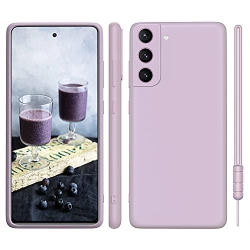 ORDA Samsung Galaxy S21 Hülle Silikon Hülle, Hanyhülle Samsung S21 Hülle Dünn mit Microfiber, Kameraschutz & Displayschutz, Kratzfeste Hülle für Samsung Galaxy S21 5G 6.2'' Lavendel Lila