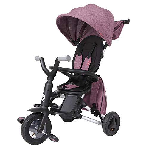 QPLAY - Triciclo Bebe Nova+ - Evolutivo - Plegable - Arnés de Seguridad - Capota con protección UV - Ideal para niños de 10 a 36 Meses (máximo 25 Kg) (Morado)