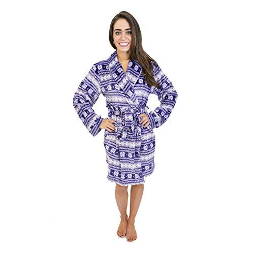 Cherokee Women's Polyester Plush Shawl Collar Bathrobe Sleepwear, Fair Isle, Large
