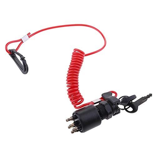 Interruptores Y Relés Correa de Encendido Universal de Motocicleta Interruptor de Llave (Color : Black Red)