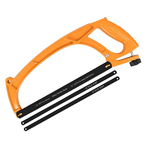 BEETRO Hacksaw Frame Hand Saw Aluminum Alloy 12 inch Heavy Duty, Two Sawing Angles (45°/90°), for Steel Pipe Cutting, PVC, Carpentry, Woodworking