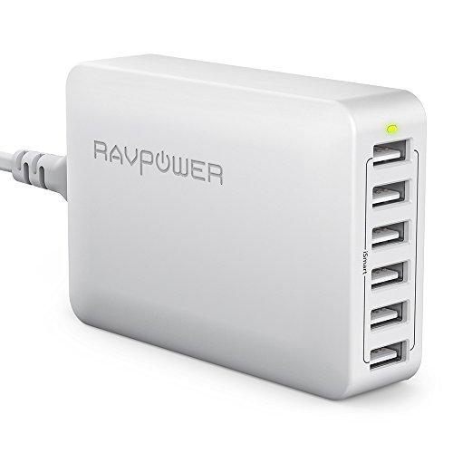 RAVPower [Versione Elevata Caricatore da Muro da 60W con 6 Porte USB Stazione di Ricarica (Ricarica iSmart, Compatibilità Universale, da 110V a 240V, Triplo Meccanismo di Protezione, Indicatore LED)