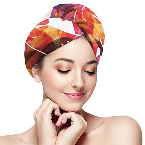 N/A Serviette à Cheveux Wrap Turban Microfibre Séchage Rapide Bonnet de Bain de Style de Mère Silhouette Tenant Sa Fille Parentale Et Amour