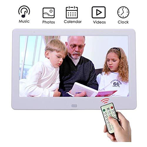 AN digitale fotolijst, HD, 25,4 cm (10 inch) LED-panorama-display, 16: 9, met sleuven voor USB/SD-kaarten en afstandsbediening, digitale fotolijst, compatibel met wit