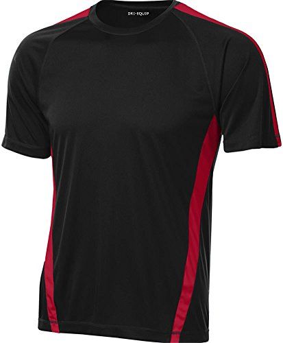 Joe's USA Men's Short Sleeve Moisture Wicking Athletic T-Shirt-Black/Red-XL