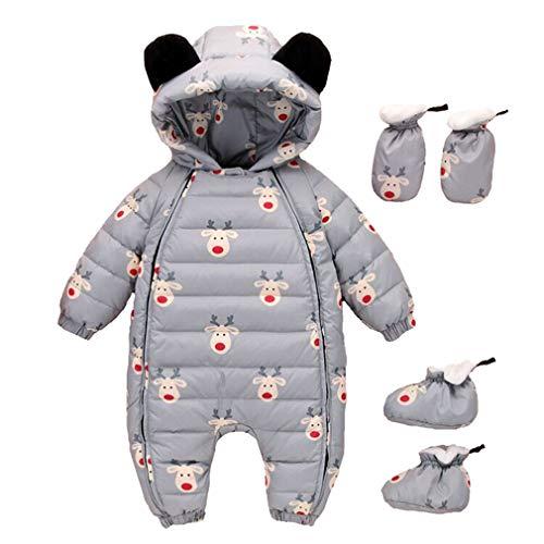 Baby overall winter, kleine kinderen jongens meisjes romper met capuchon footed handschoenen sneeuwpak warm speelpak jumpsuit kledingset 100/2-3Y Grijze eland