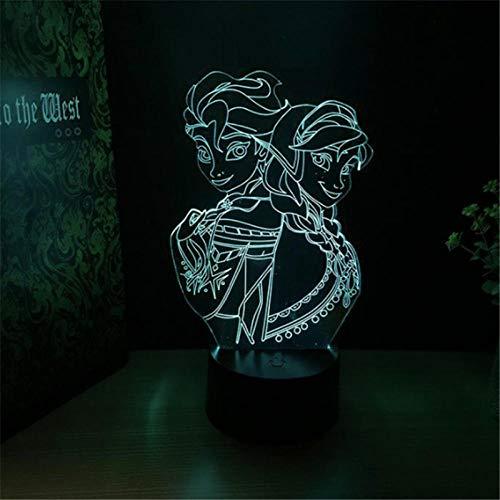Lámpara de ilusión 3D Luz de noche LED Frozen USB 7 Cambio de color Lámpara de escritorio Dibujos animados Elsa Complementos visuales Muebles Habitación de los niños Niño Niña Regalo Cumpleaños