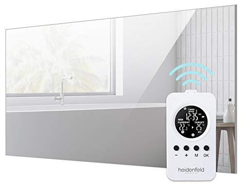 Heidenfeld Heizspiegel HF-HS100 + Heidenfeld Thermostat-Fernbedienung - 10 Jahre Garantie - Deutsche Qualitätsmarke - TÜV GS - 300-800 Watt - 3-19 m² (HF-HS100 800 Watt)