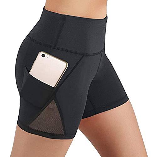 Whear Yoga Shorts for Women High Waist Tummy Control Stretch Workout Running Shorts Side Pockets Athletic Leggings (Black,Medium)