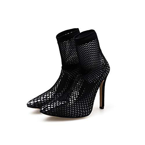 Lixibei Sandalias de Moda para Mujer, Damas, Fiesta de Baile, Bodas, Sandalias de Novia, Zapatos con Punta de Fuga, combinación Medias de Red y Tacones Altos,42