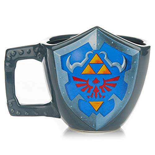Paladone The Legend of Zelda Hylian Shield Ceramic Coffee Mug - Collectors Edition Shield Shape Cup
