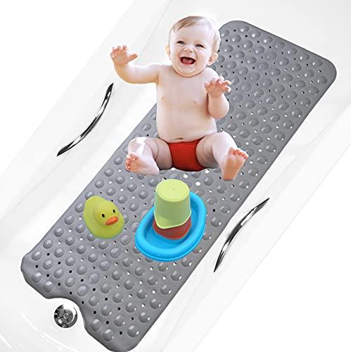 bisoo BPA Free 40x100 cm Alfombra Bañera Antideslizante Infantil Extra Larga para Baño de Niños Bebes y Ducha Infantil - Libre de BPA - Alfombrilla Baño con Tratamiento Antibacteriano (Gris Sólido)