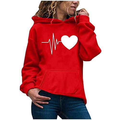 SEWORLD Women Sweatshirt Casual Hoodies Jumper Tops Ladies Print Sweatshirt Blouse Tee T-Shirt Tops Red