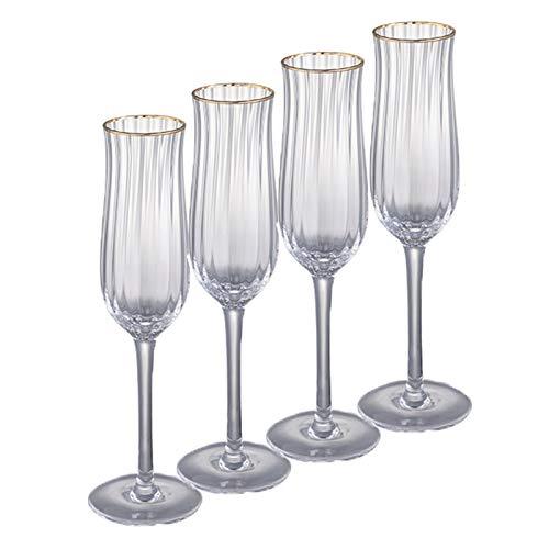 DONGTAISHANGCHENG Golden Rim Tulip Champagne Flautes, Vidrio Elegante y Copa, 3.95 onzas de 4 Piezas, adecuadas para el Aniversario de Boda.