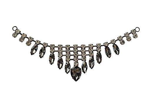 Trimming Shop Magnífico Negro Cristales Transparentes Pedrería Motivo Costura Parche Aplique para la Boda Vestido de Novia, Informal o Ropa Formal Accesorios de Moda - 17 X 4cm - Parche N.º 207