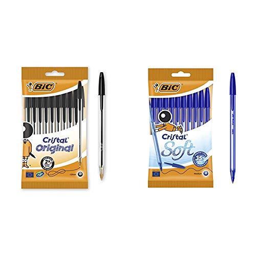 BIC Cristal Original - Bolígrafos punta media, 1.0 mm, Blíster de 10 unidades, Negro + Soft Bolígrafos Punta Media (1,2 mm) con escritrua suave - Azul, Blíster de 10 Unidades