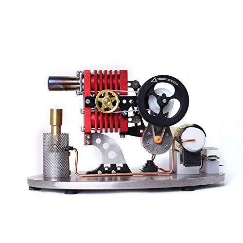 BaoYPP Motor Stirling Doble Cilindro Doble pistón Rocker Brazo Enlace Stirling Motor Generador Modelo con lámpara LED Pantalla de Voltaje Medidor Aumentar el Conocimiento de los Niños